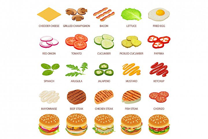 Burger ingredient icons set, isometric style
