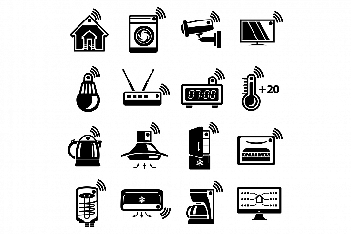 Smart home icons set, simple style