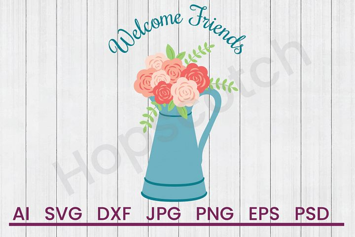 Pot of Flowers SVG, Welcome SVG, DXF File, Cuttatable File