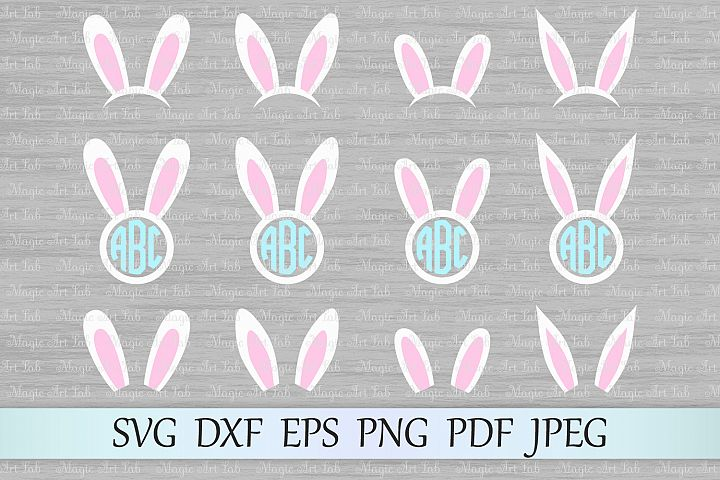 Bunny ears svg, Bunny circle monogram svg, Bunny svg