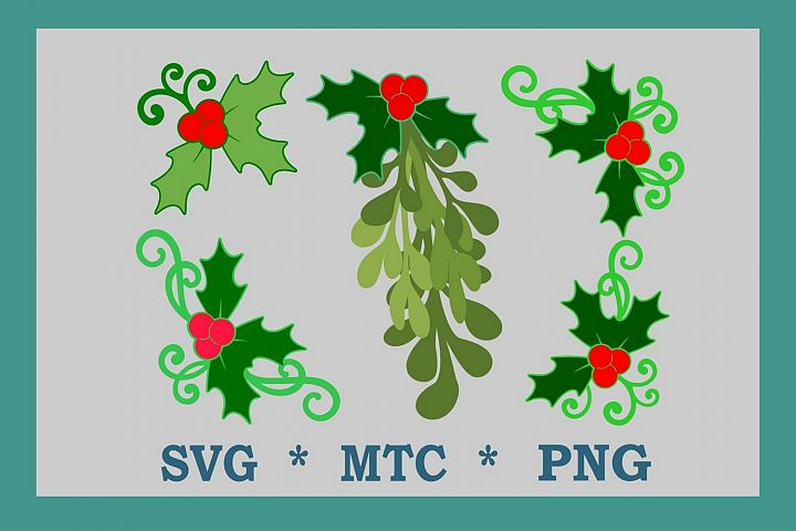 Christmas Holiday Mistletoe & Holly BUNDLE SVG Cut File