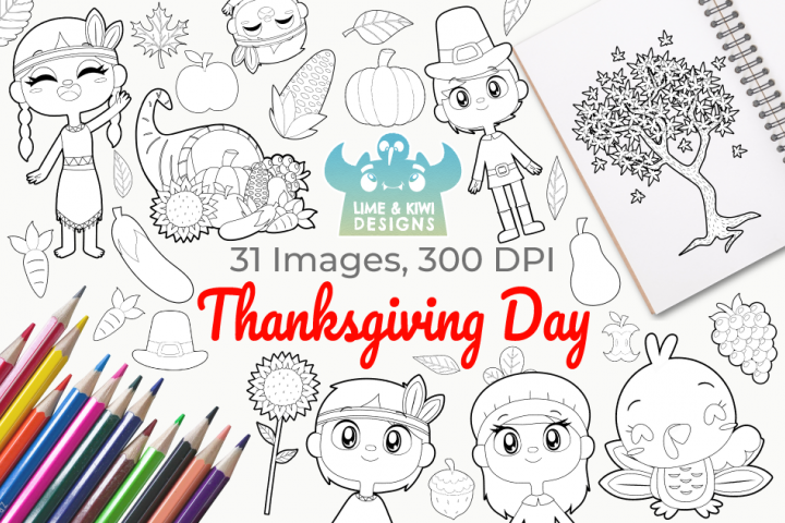 Thanksgiving Day Digital Stamps