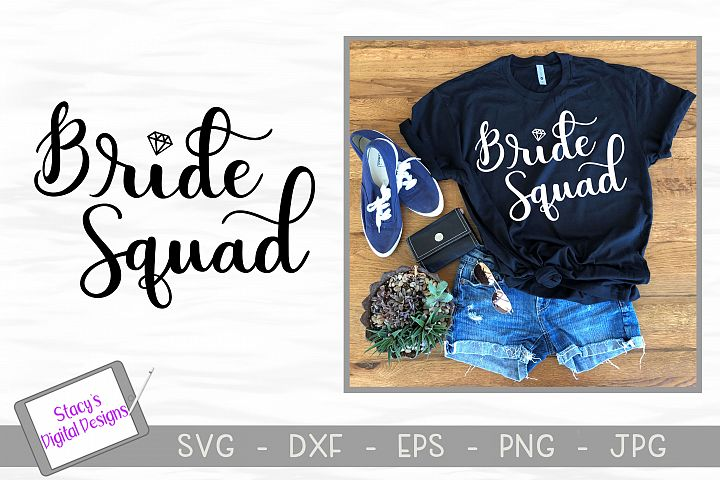 Bride Squad SVG - handlettered bridal party SVG