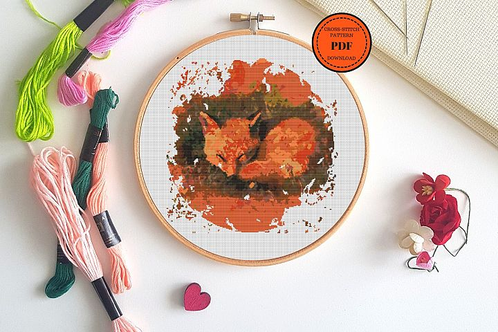 Cross stitch Fox Pattern Pdf, Hoop Art Foxy, Animal Lover