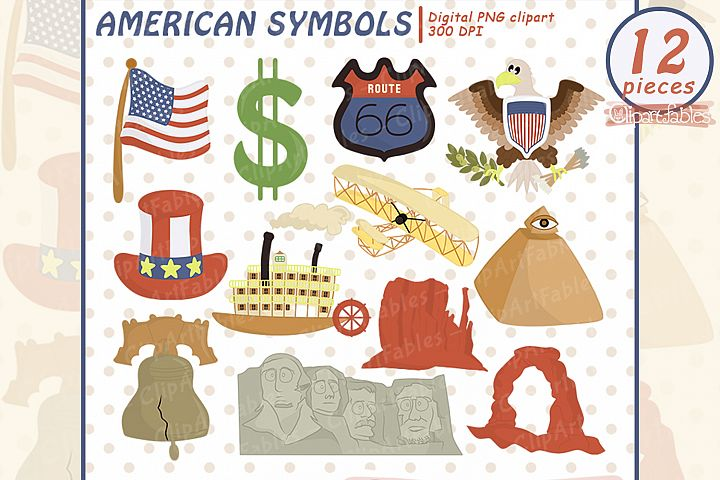 USA National Symbols Clipart, Travel clip art set, USA Flag