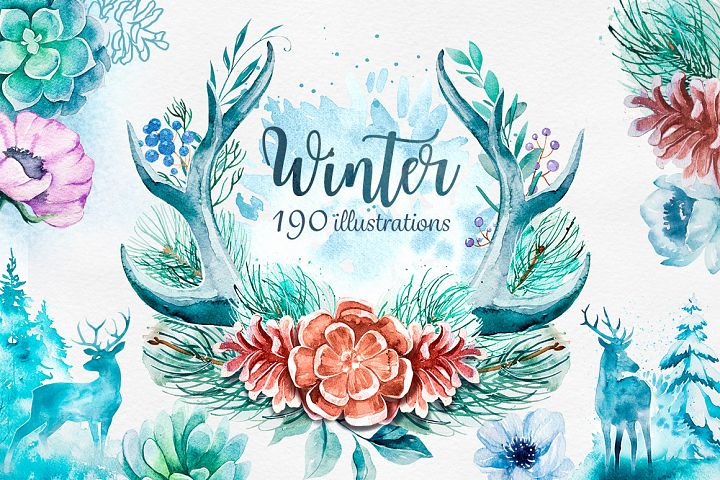 Winter. Watercolor collection.