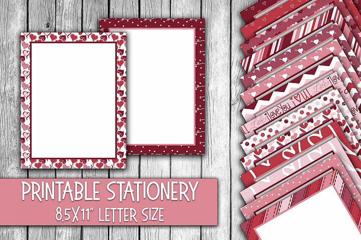 Valentines Day Stationery - Cute Valentine Digital Paper
