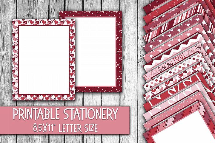 Valentines Day Stationery - Cute Valentine Digital Paper