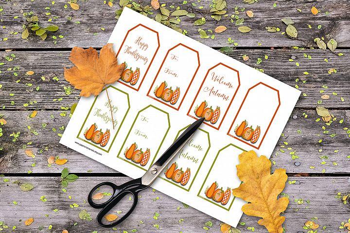 Printable Autumn Gift Tags, Pumpkin Trio Gift Tags
