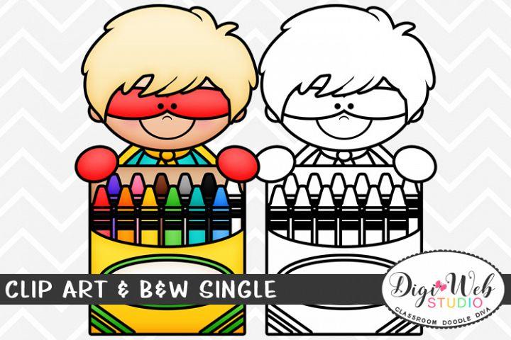 Clip Art & B&W Single - Superhero Boy w/ Crayons Topper
