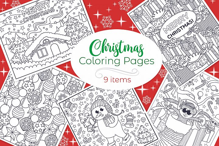 Christmas Coloring Pages- 9 vector items