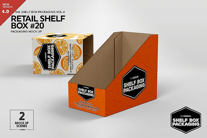 Retail Shelf Box 20 Packaging Mockup