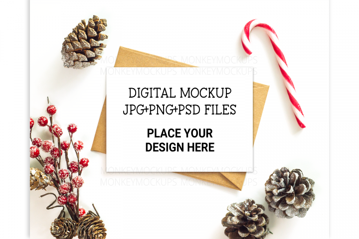 Christmas Greeting Card Mockup - Stock Photo Invitation