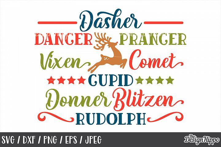 Christmas, Reindeer Names, Dasher Dancer Prancer, SVG, PNG