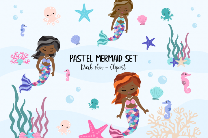 Pastel Mermaid Set - Dark Skin Clipart