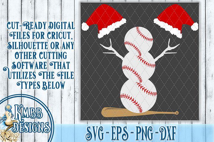 Baseball Christmas SVG Snowman - SVG EPS PNG DXF