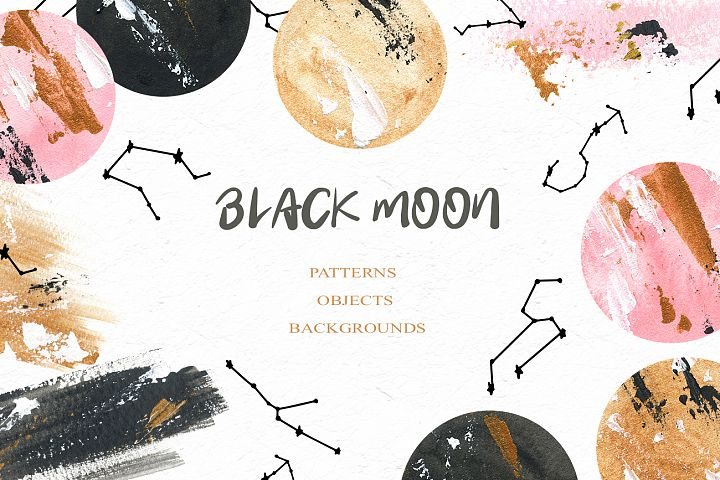 Black Moon clipart, Acrylic and watercolor moon, Star zodiac