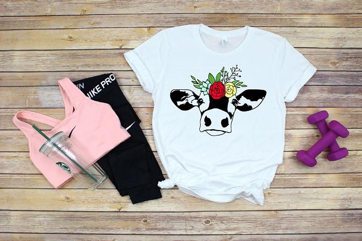 Bandanna Flower Heifer Cow SVG, Glitter farm cowboy 1381