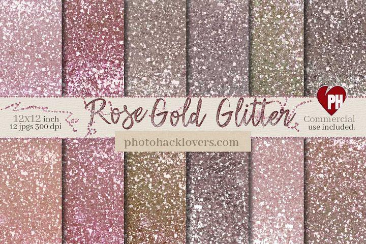 Rose Gold Glitter Digital Paper