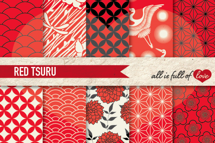 Japanese Graphics Red and Black Digital Background Patterns