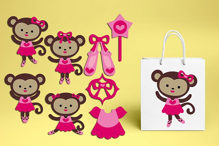 Pink ballerina cute tutu girl monkeys graphic illustrations