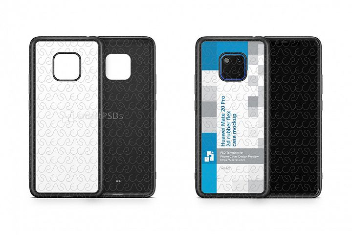 Huawei Mate 20 Pro 2d RubberFlex Case Design Mockup 2018