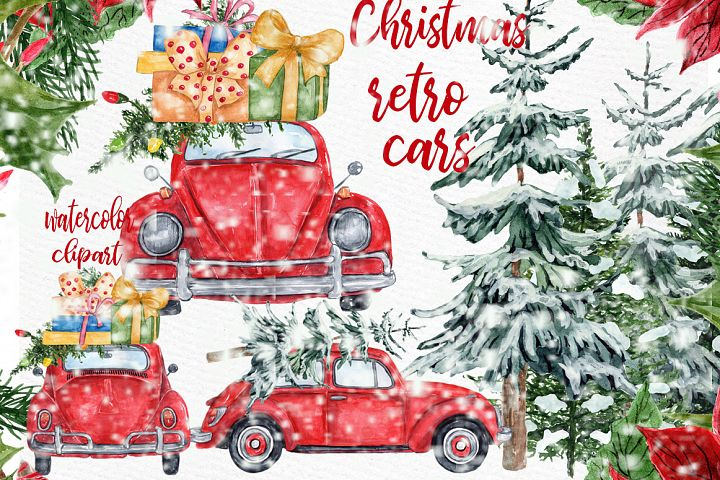 Watercolor Christmas Cars Clipart,Christmas Wreath, Snow Png
