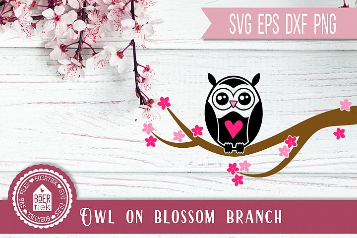 Owl on blossom branch, SVG cutting file