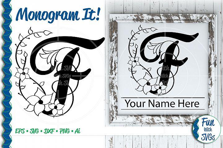 SVG Monogram Letter F, Vector, Cut File, Clip Art, FWS355