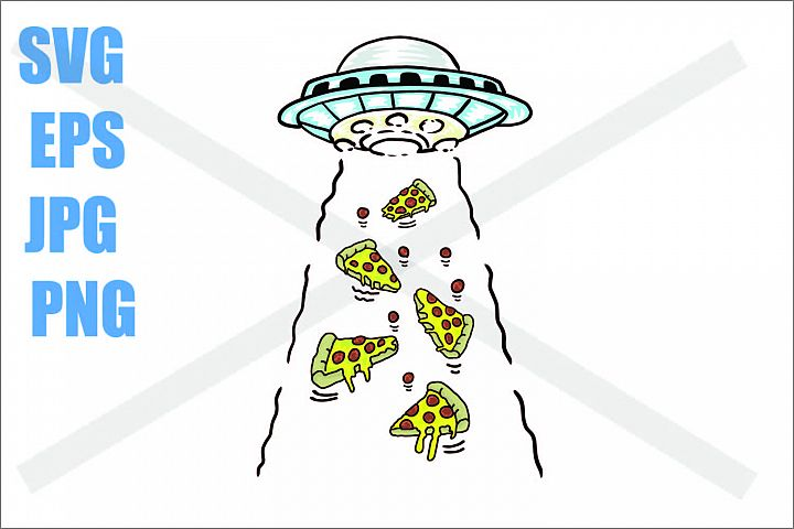 UFO Abduction pizza pieces - SVG EPS JPG