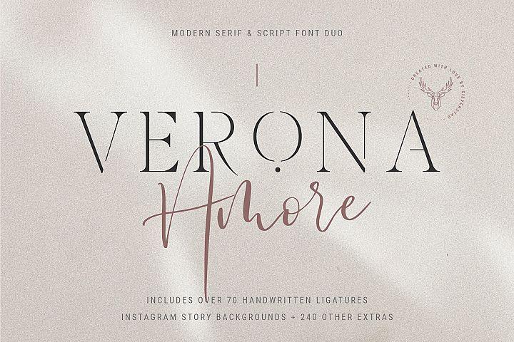 Verona Amore - Modern Serif & Script Font Duo & Extras