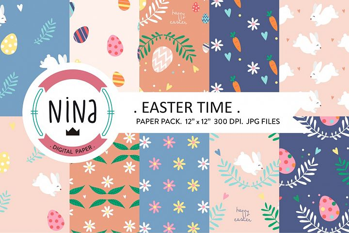 Easter digital paper, easter time, cute rabbit print, easter