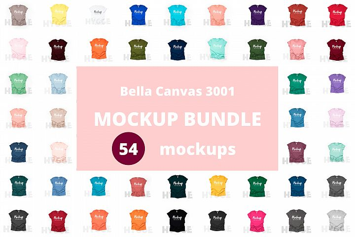 Tshirt Mockup Bundle Bella Canvas 3001 Basic tshirt mockups