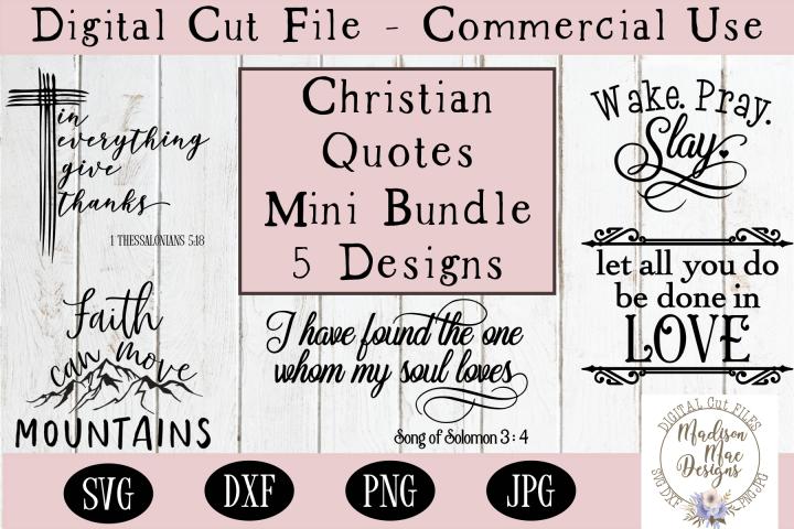 Christian Quotes Mini Bundle 5 Designs, Christian Cut Files