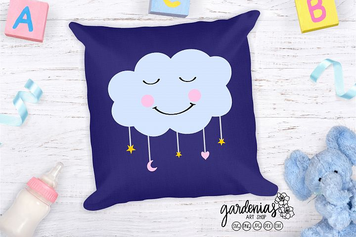 Sleeping Cloud SVG | Happy Cloud Cut File | Nursery Cloud
