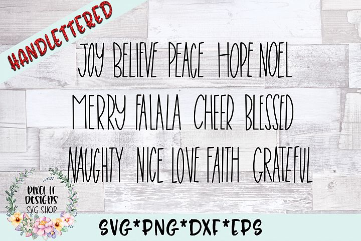 Christmas Words Hand Lettered SVG Cut File