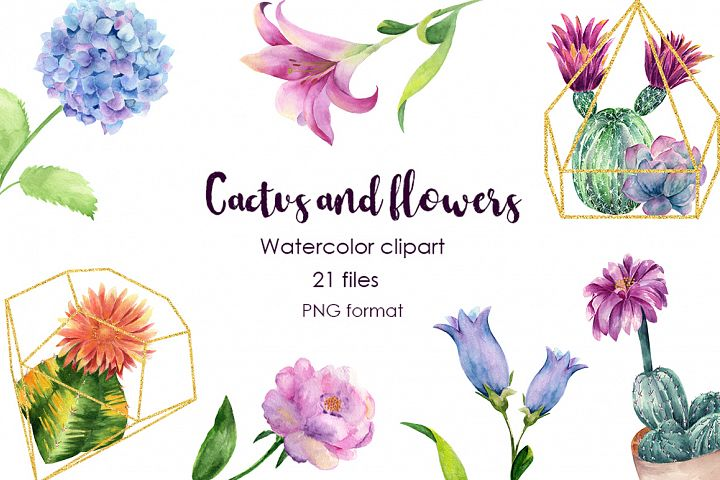 Watercolor Cactus and Flowers Clipart.