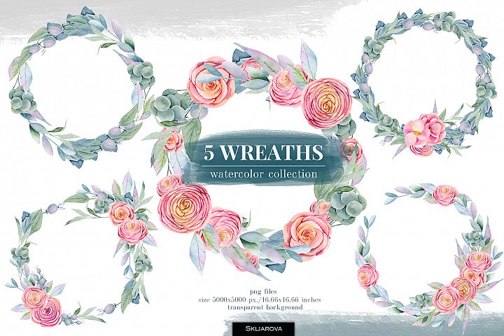 5 Wreaths, Floral boxes watercolor col.
