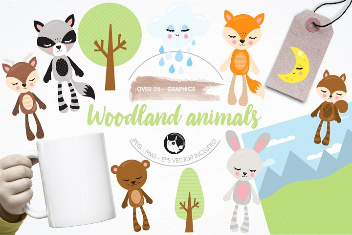 Woodland plushies graphics and illustrations