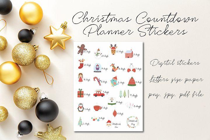 24 Christmas Countdown Stickers, Cute Animal Printables
