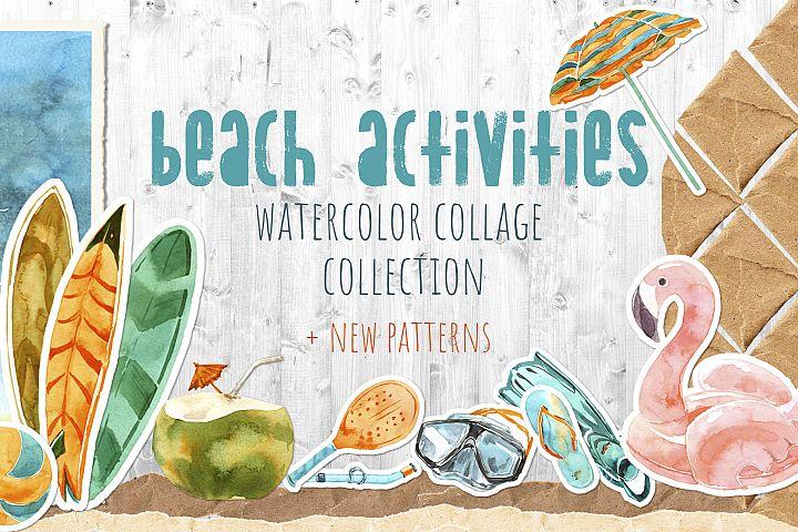 Beach Activities Watercolor Collage