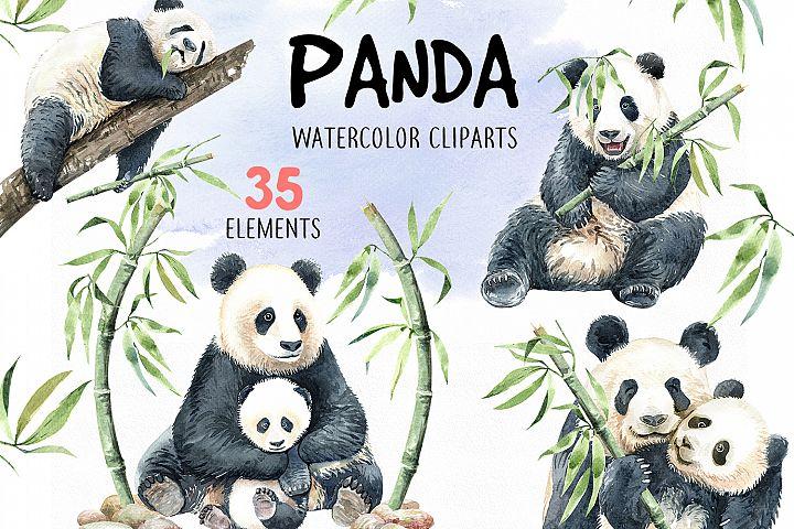 Panda with bamboo. Watercolor animal cliparts.