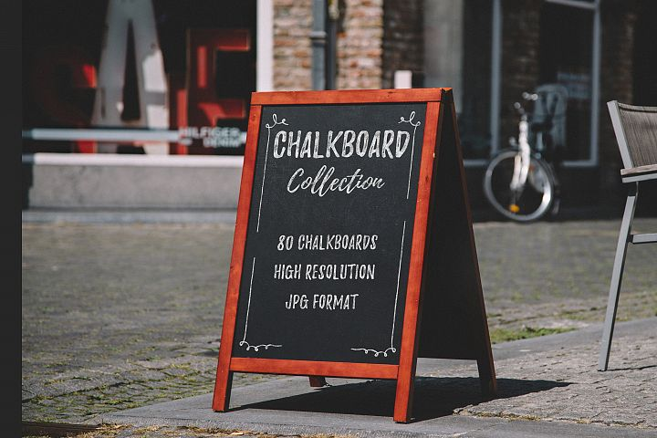 80 Chalkboards BG JPG -Chalk Text Effect PSD Template Bonus