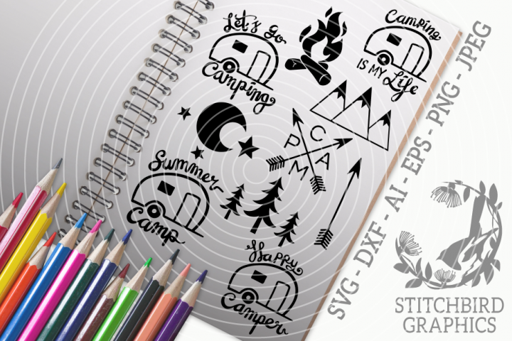 Camping Bundle SVG, Silhouette Studio, Cricut, Eps, Jpeg, Ai