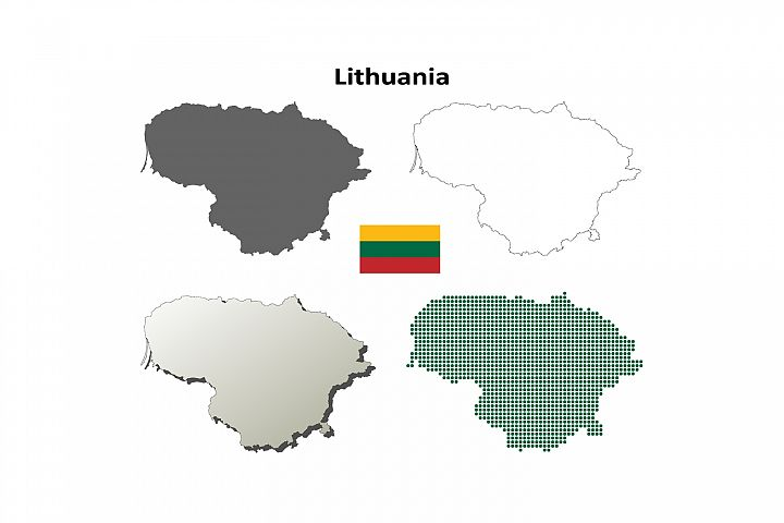 Lithuania outline map set