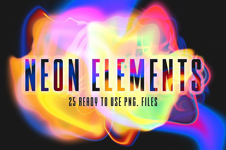 25 Abstract Png Neon Elements