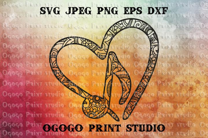 Music SVG, Mandala svg, Zentangle SVG, Heart SVG