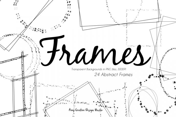 24 Hand Drawn Digital Frames Clip Art Bundle