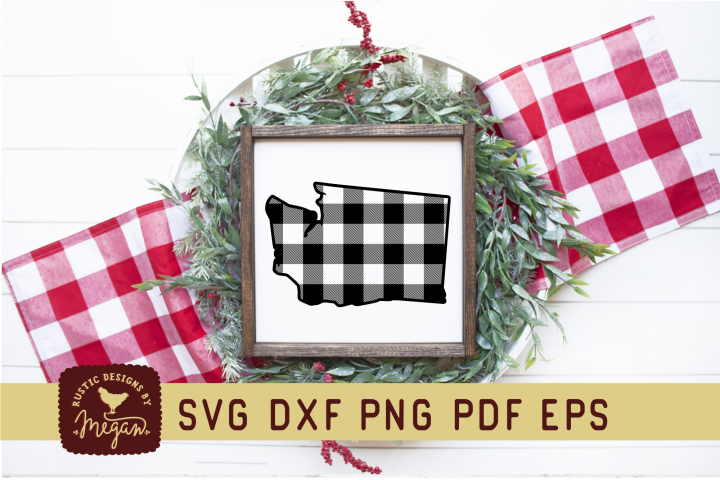 Washington Buffalo Plaid State SVG DXF Cut File