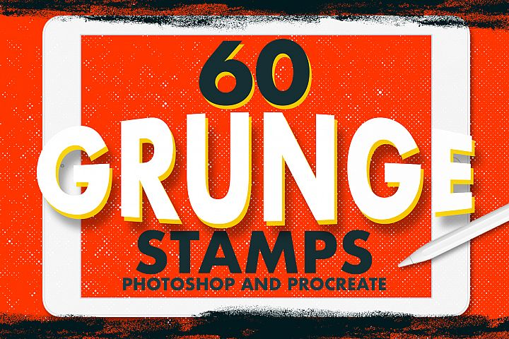 60 Grunge Stamps Photoshop & Procreate